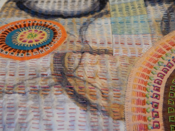 The way I stitched the background of this quilt is similar to traditional kantha.